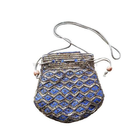 Ladies Handmade Bag - Blue & Golden Beats