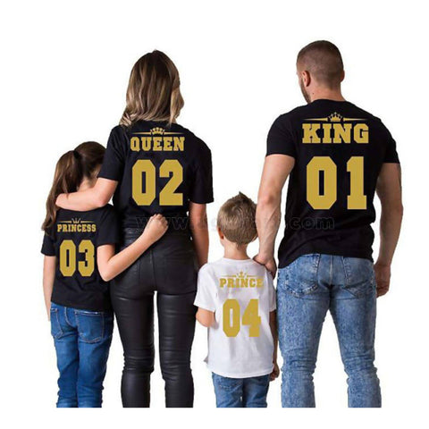 Bold Printed King, Queen, Princess And Prince Family T-Shirts