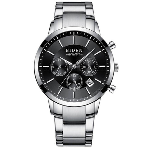 BIDEN SportWatch Black & Silver Stainless Steel Strap Men's Watch