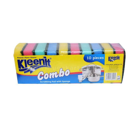 Kleenit Scrubbing Pad With Sponge 10 Pieces