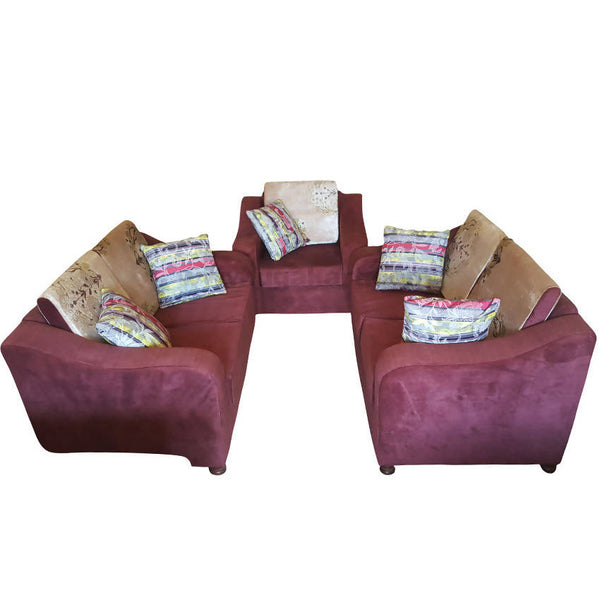 Red Five Seater Sofa With Cusion