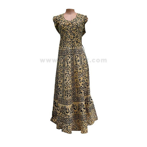 Floral Printed Long Dress For Women - ( Size XXL/42 )