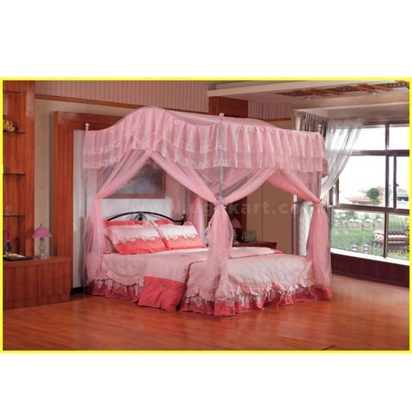 Pink Curved Design Mosquito Net - Steel Framed