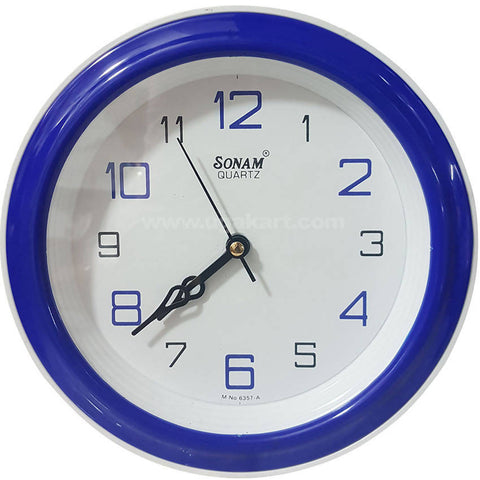 SONAM QUARTZ Blue Frame Round Wall Clock