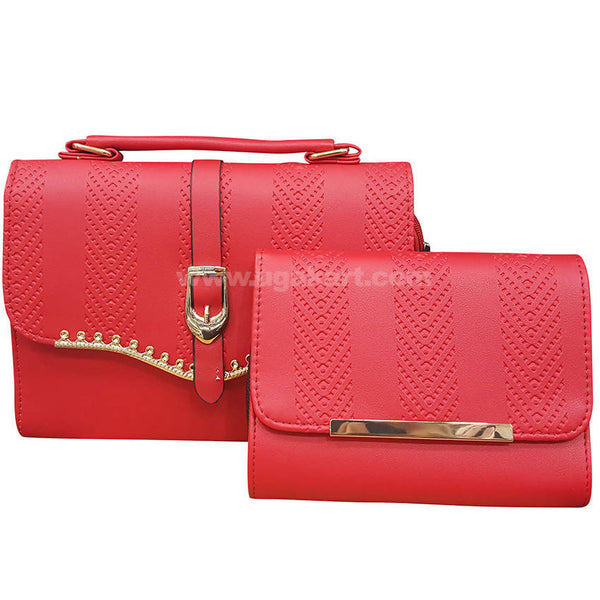 Set of Two Red Ladies Hand Bag with Wallet