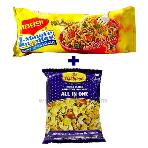 Maggi Masala (Pack Of 4) 280 gm + Haldiram's All In One 150 gm (1 Packet)