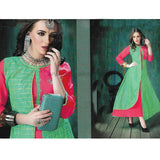 Green and Pink Heavy Rayon Kurti-Size : L, XXL