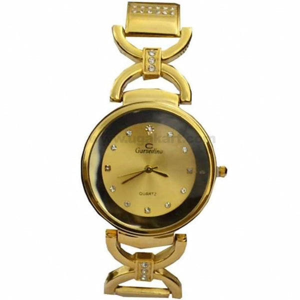 Garsedino Gold Rounded Dial Analog Women's Watch