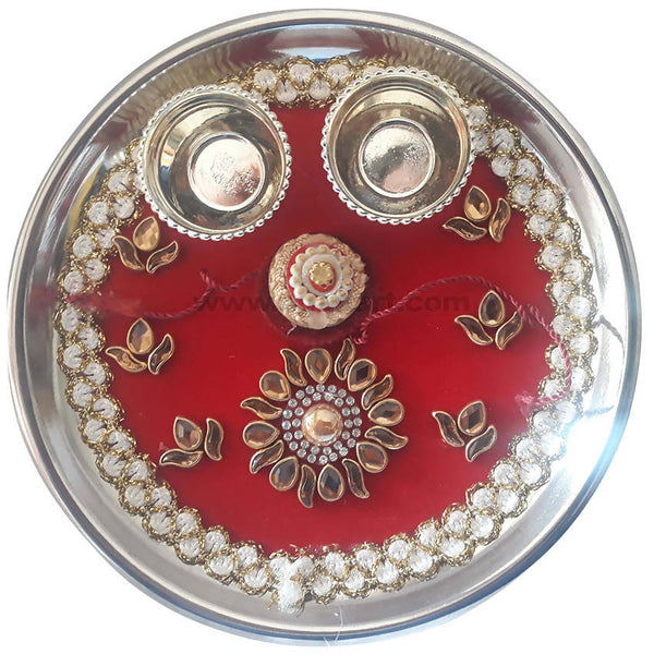 Rakhi Thali_Red Color With Golden Design With 1 Pc Rakhi