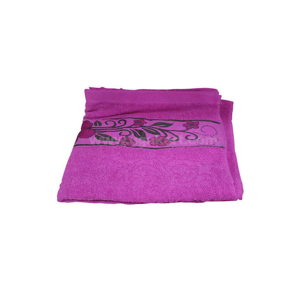 Bath Towel Pink With Flowered-Size 70X140Cm