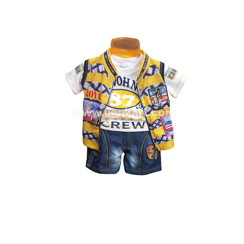 Yellow T-Shirt Shot Pant Plus Jacket For Boy_2mnth to 6mnths