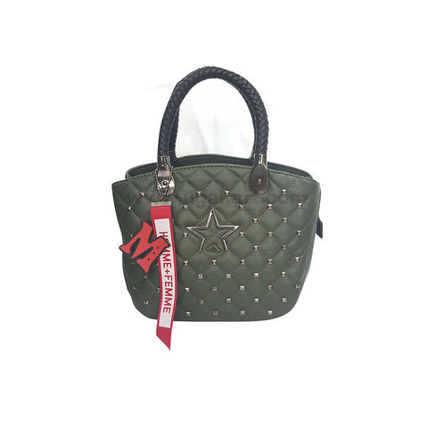 Homme Femme Green Faux Leather HandBag For Women's