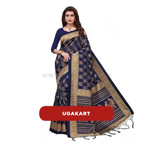 Dark Blue Cotton Designer Saree