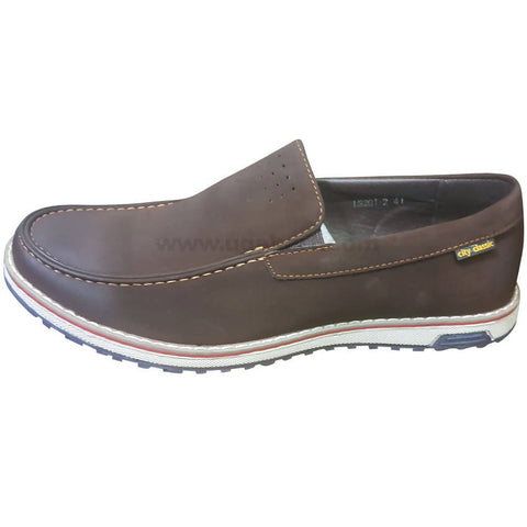 Men's Brown & White Sole Casual Slip On Loafers