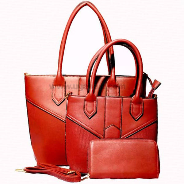 Red Faux Hand Bag 3PCS