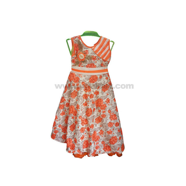 Orange One Peace Dress For Girl_5 to 13 yr