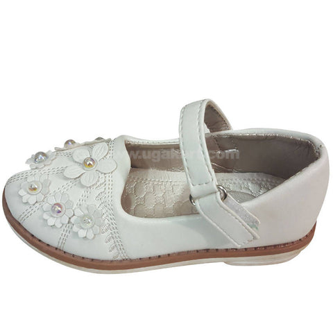White Flower Designed Girls Shoes (Size-24 to 30)