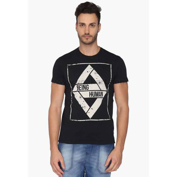 Being Human Black Men's Printed T-Shirt (Size: S,M,L,XL)