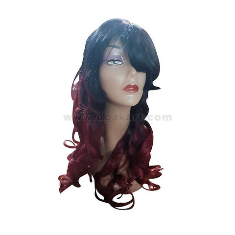Stylish Human Hair Wig-Black & Maroon