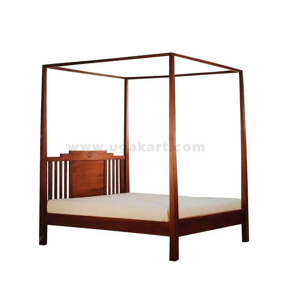 Formal Brown Canopy Wooden Double Bed