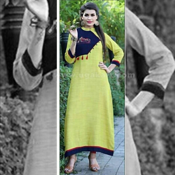 Long Kurti in Lime Green And Navy Blue Color - Size XXL