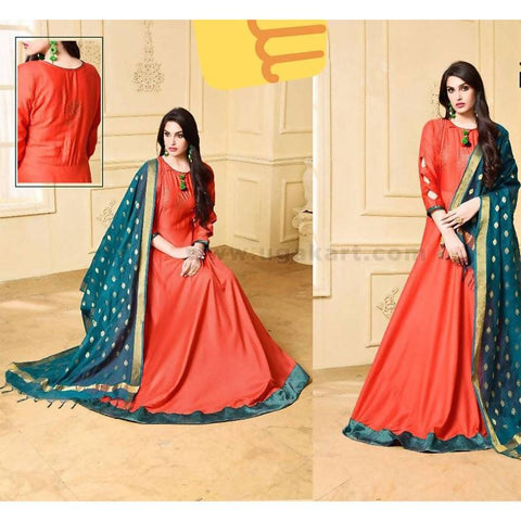 Long Dress with Veil/Dupatta-Orange and Teal Color-(Size XL/40)