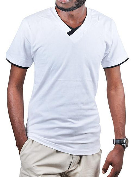 DOUBLE-NECK White T SHIRT