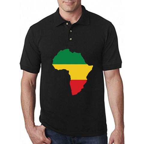 Africa Map Printed Black Men's Polo T-Shirt