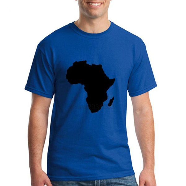 Africa Map Printed Blue Men's Round Neck T-Shirt