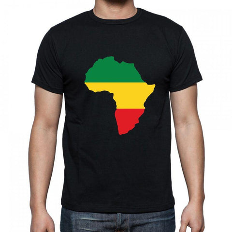 Africa Map Printed Black Men's Round Neck T-Shirt