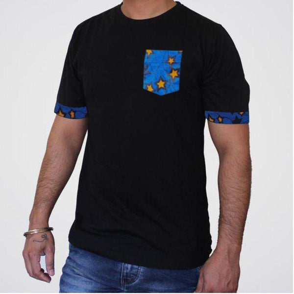 Blue Star Pocket Sleeve T-Shirt - Black1