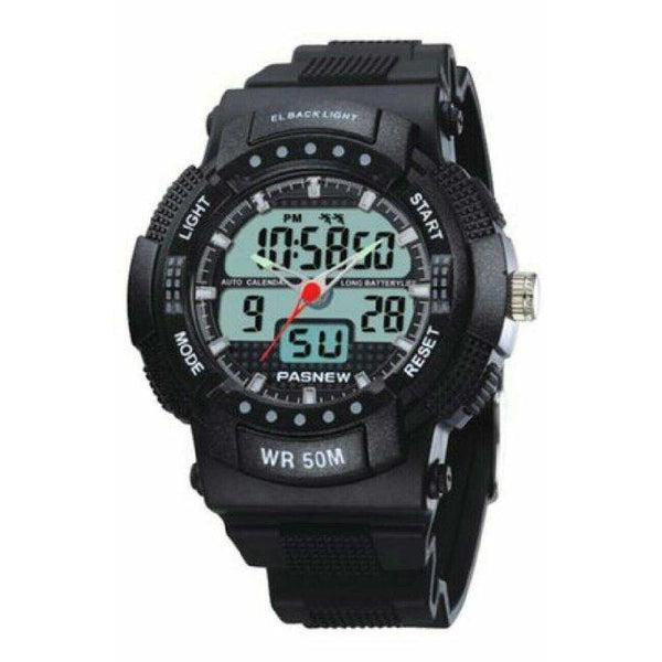DIGITAL AND ANALOG WATCH - BLACK