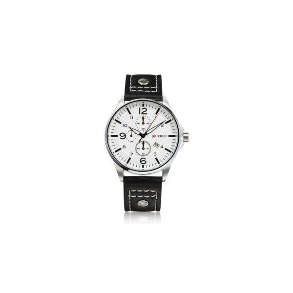 LEATHER STRAPPED AND DATED MEN'S WATCH - SILVER, BLACK