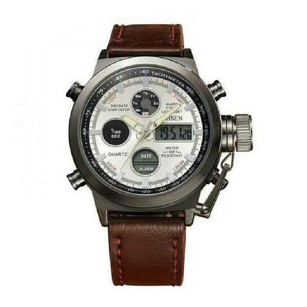 MEN'S DUAL LEATHER STRAPPED DESIGNER WATCH - BROWN