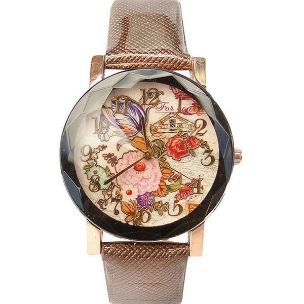 FLORAL DESIGNED WOMEN'S WATCH - BROWN, BLACK