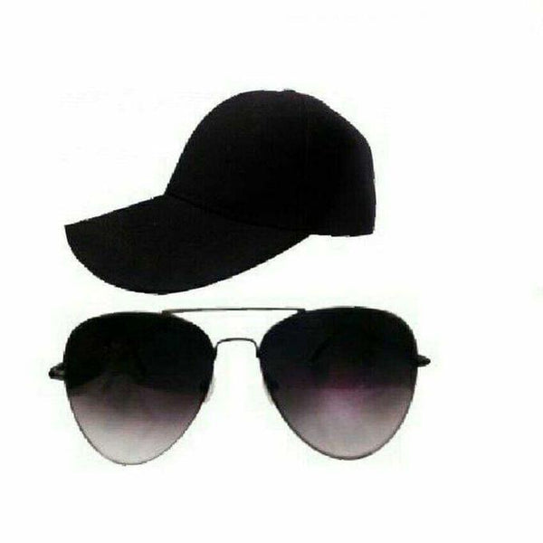 BUNDLE OF A BLACK CAP AND BLACK SUNGLASSES