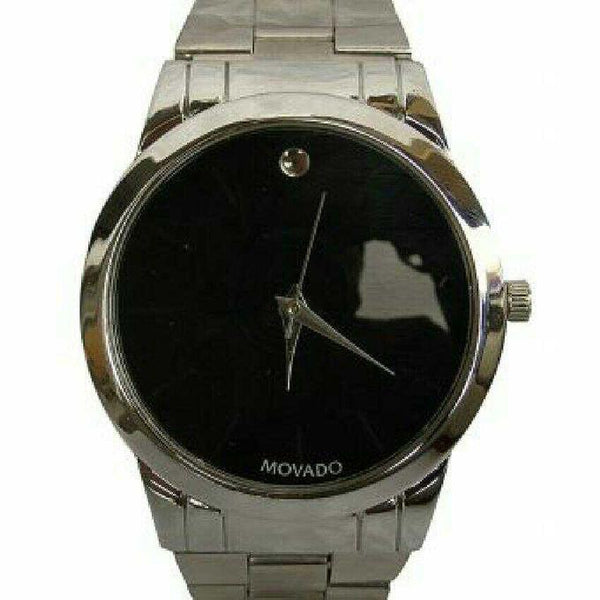 SILVER WITH PLAIN BLACK FACE MEN'S WATCH