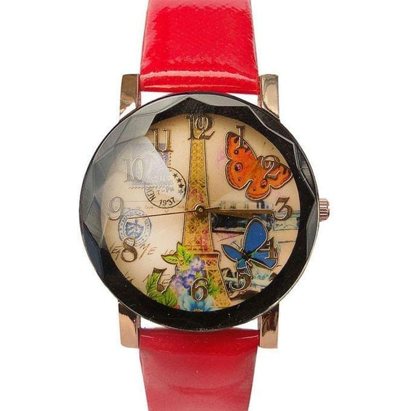 BUTTER FLY DESIGNED WOMEN'S WATCH - RED, BLACK