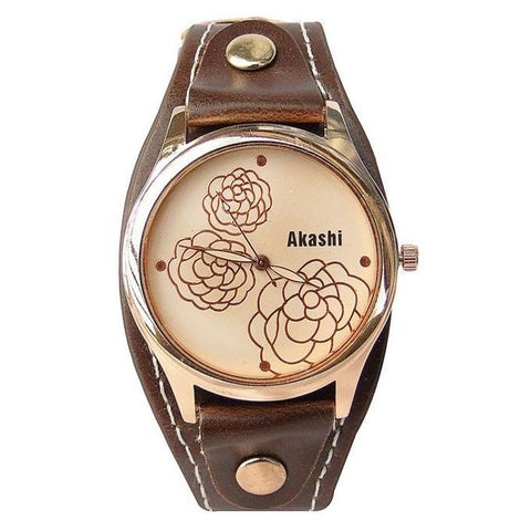 AKASHI LEATHER AND FLORAL DESIGNED WOMEN'S WATCH - GOLD
