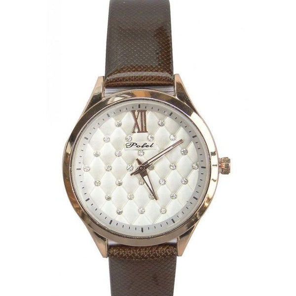 POFEL DIAMOND DESIGNED SMART WOMEN'S WATCH WITH LEATHER STRAPS - BROWN, GOLD, SILVER