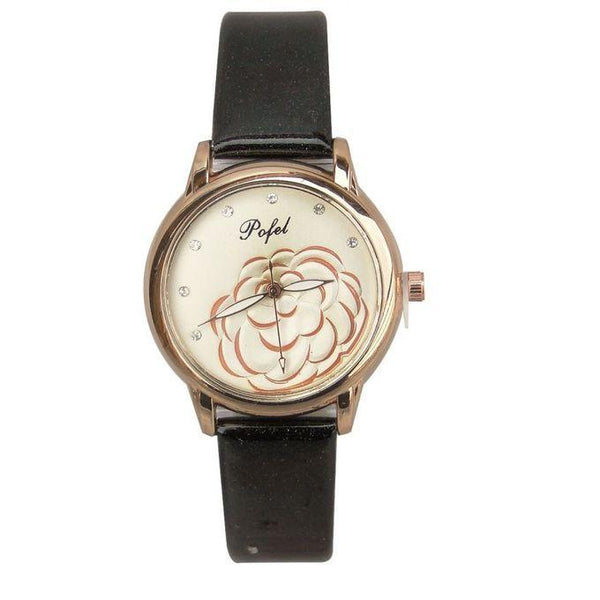 SMART POFEL FLOWER DESIGNED WOMEN'S WATCH - BLACK, GOLD, WHITE