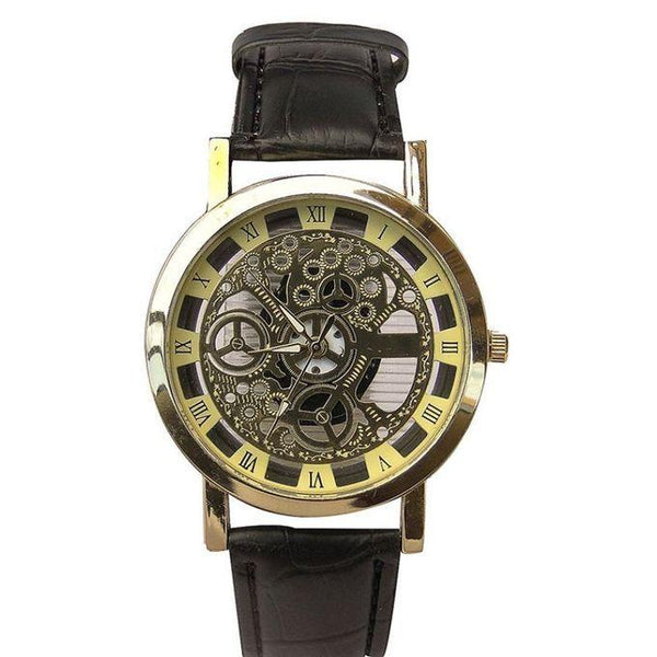 LEATHER STRAP WOMEN'S WATCH - BLACK, GOLD