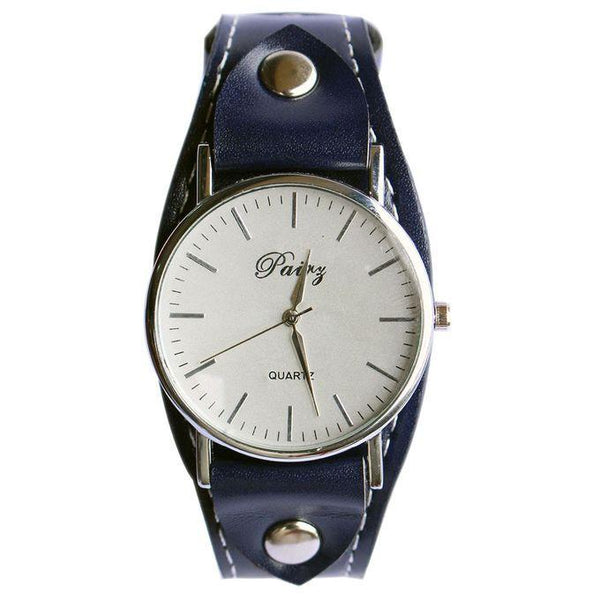 PAIRY ROUND FACE & LEATHER STRAP UNISEX WATCH - BLUE
