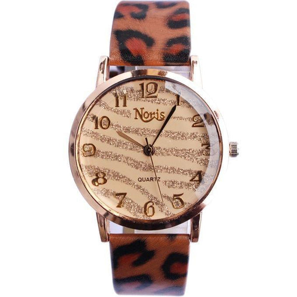 NORIS GLITTER DETAILED & ANIMAL PRINT STRAP MEN'S WATCH - BROWN, BLACK