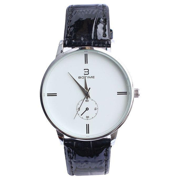 BOTIME LEATHER STRAP & ROUND FACE UNISEX WATCH - BLACK