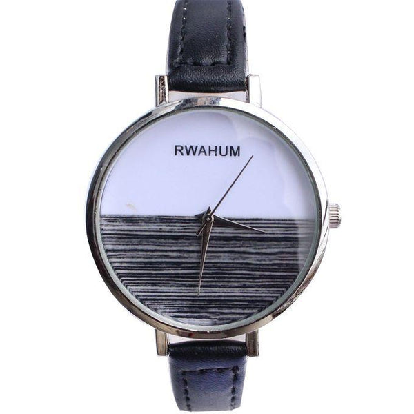 RWAHUM ROUND FACE & LEATHER STRAP LADIES WATCH - BLACK