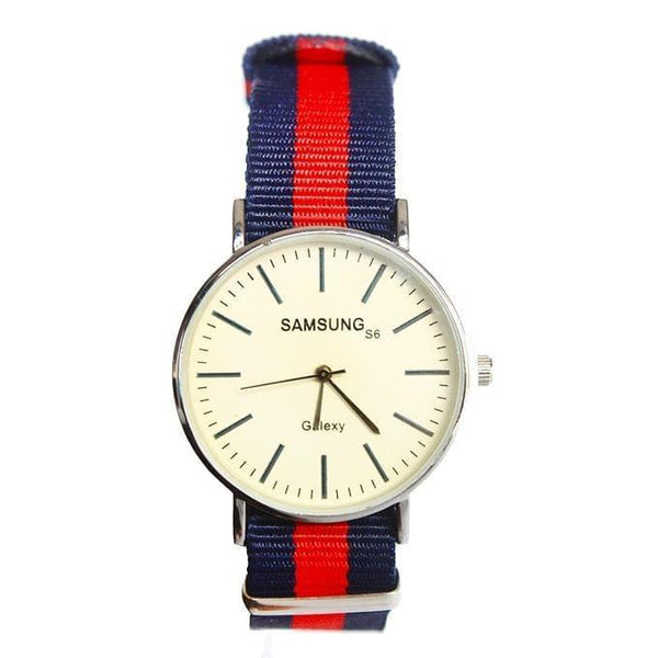 ROUND FACE STRETCHER STRAP WOMEN'S WATCH - BLUE, RED