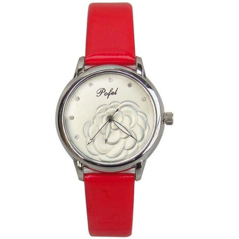 Pofel Floral Designed Smart Casual Formal Women's Watch - Hot Pink, White1