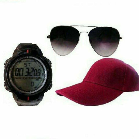 Bundle of digital watch_ red cap and black sunglasses1