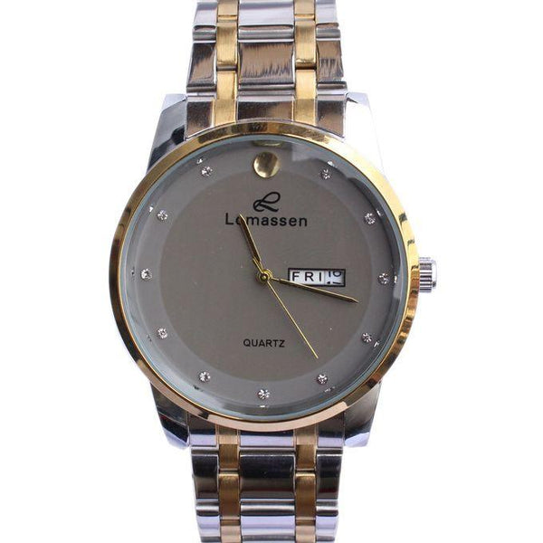 Chain Designed _ Round Face Men_s Watch - Gold_ Silver1